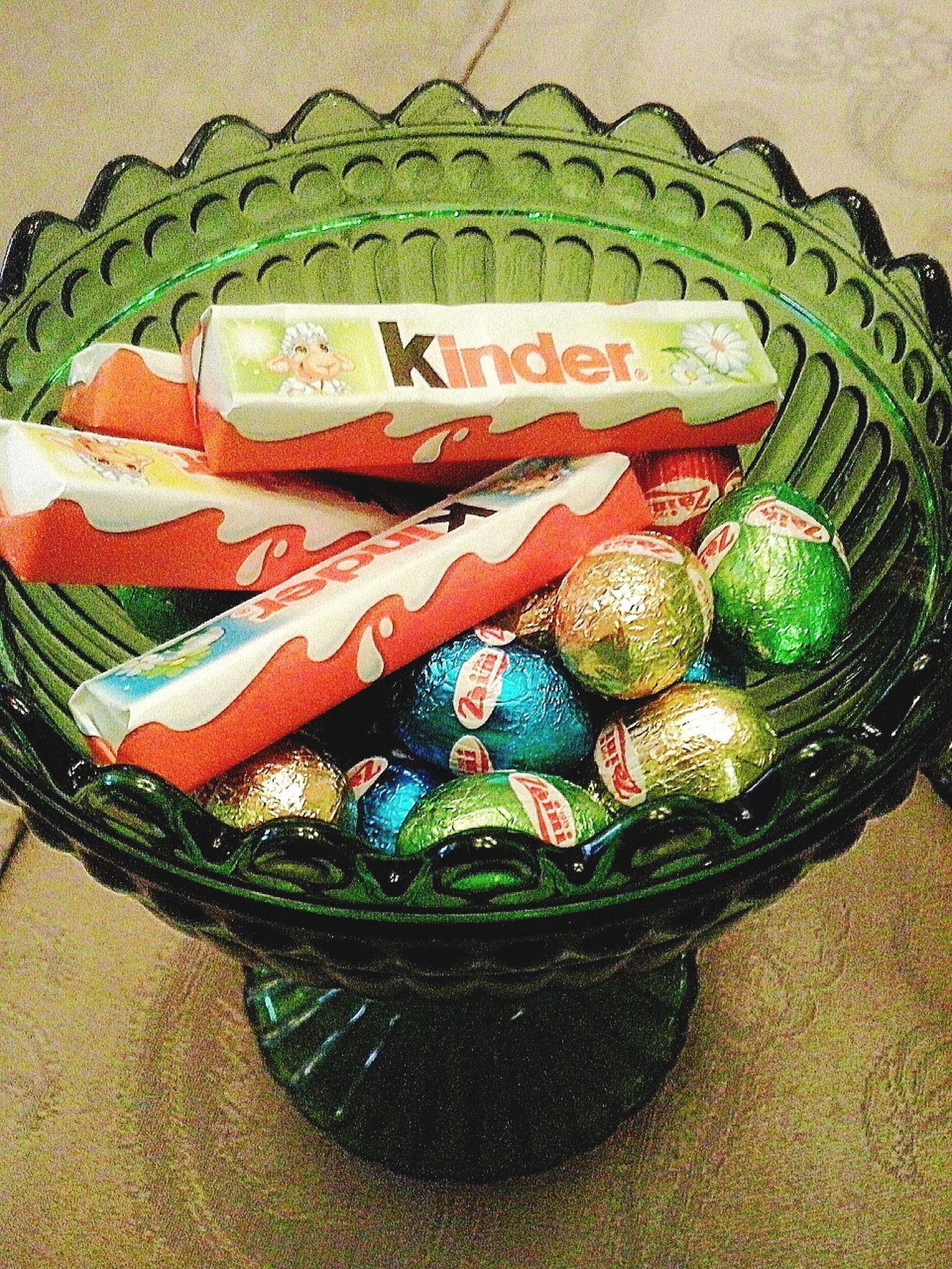 Happy Easter !  Chocolate Eggs , Kinderbueno  - Colors .