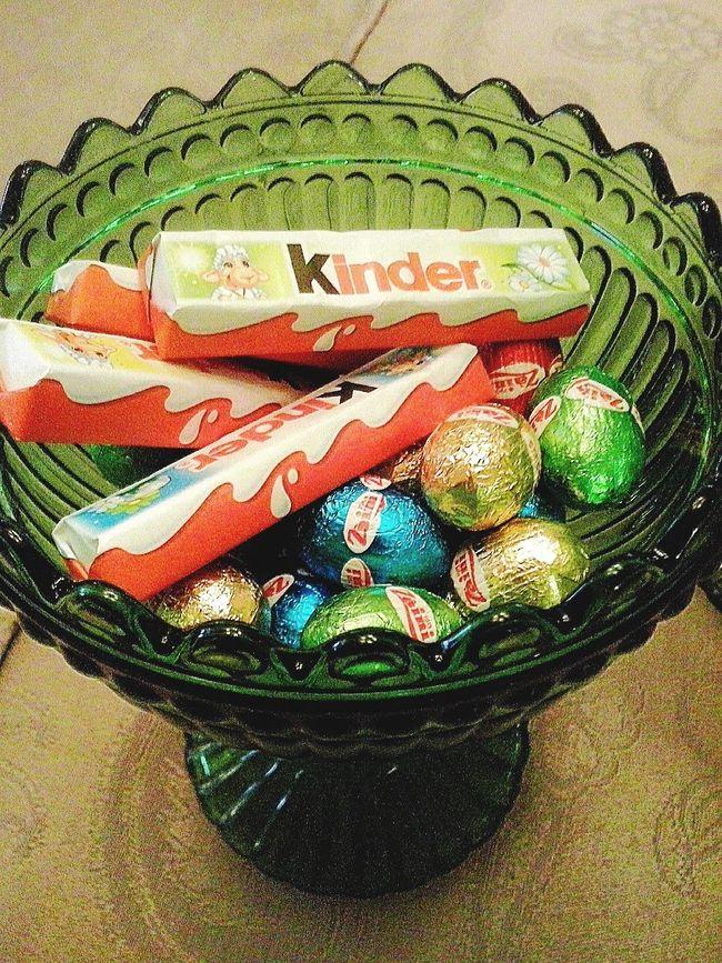 Happy Easter !  Chocolate Eggs , Kinderbueno  - Colors .