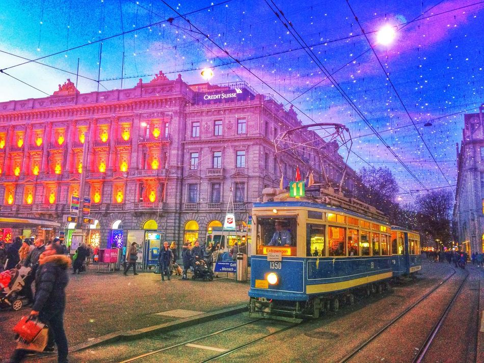 Xmas in the streets Mexturesapp Hdr_Collection EyeEm Best Shots EyeEmSwiss Tram Public Transportation Streetcar Xmas
