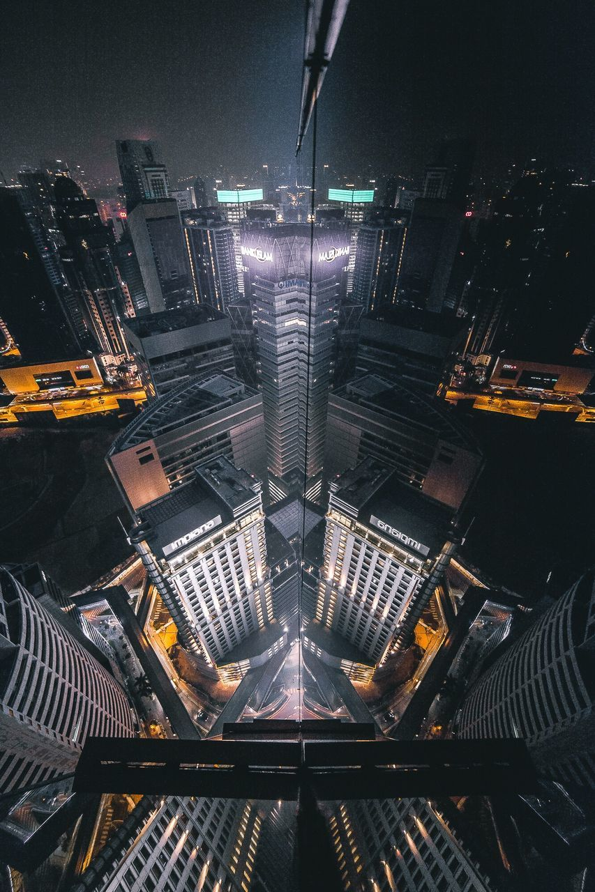 illuminated, high angle view, night, architecture, no people, outdoors, built structure