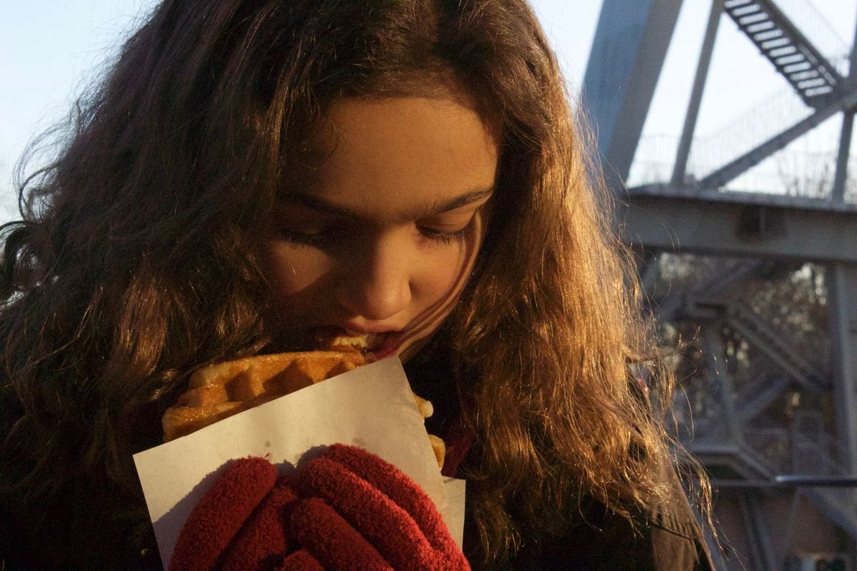 Close-up Cold Day Eating Fast Food Girl Gloves Headshot Long Hair One Person One Young Woman Only Outdoors People Red Gloves Sweet Sweet Food Teenager Waffle Waffle Time Waffles Young Adult Young Women