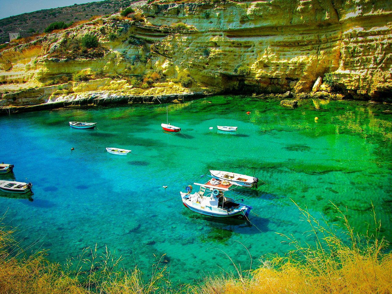 Boats Boat Trawlers Nautical Vessel Water Transportation Nature Sea Scenics Sailboat Beauty In Nature Summer Cliff Clear Sea Live For The Story The Great Outdoors - 2017 EyeEm Awards Crystal Clear Waters Green Sea Seascape Landscapes Landscape Greek Islands Tranquility Tranquil Scene