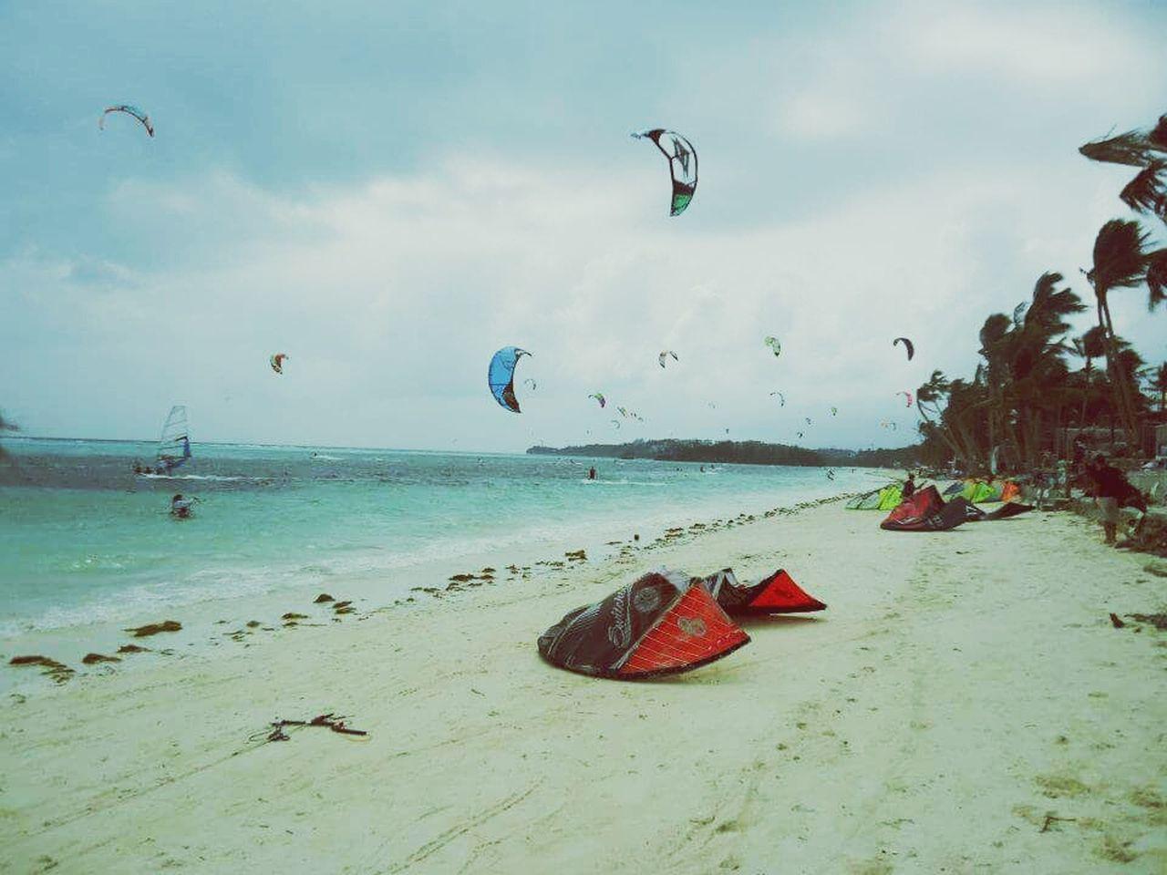 Beach Kitesurfing Sand Flying Water Summer Wave Windy Day