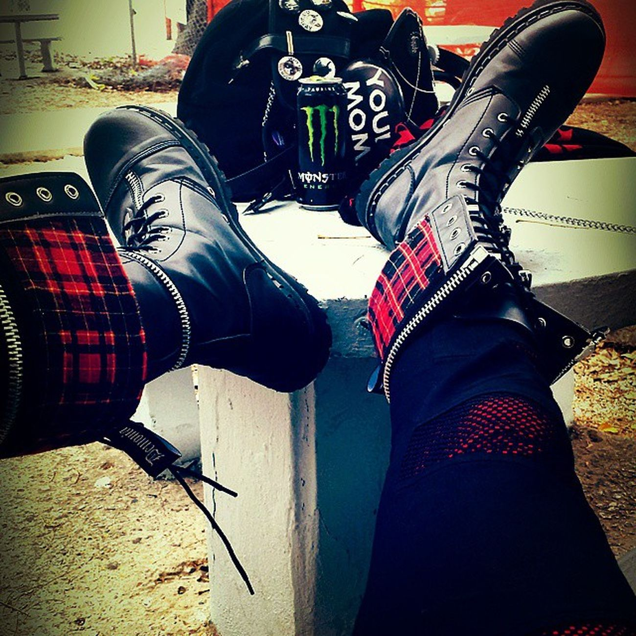 Just bought these Punk Boots Demonia Hottopic Kilt Metal Punksnotdead Custom Monster Monsterenergy Monsterenergydrinks Rock Goth