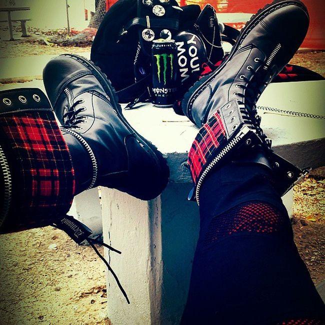 Just bought these Punk Boots Demonia Hottopic Kilt Metal Punksnotdead Custom Monster Monsterenergy Monsterenergydrinks Rock Goth