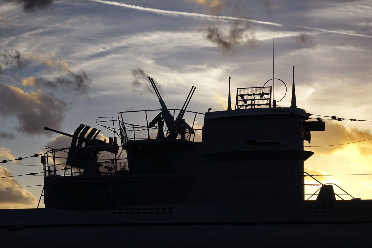Museums U-Boot U 995 Architecture Building Exterior Cloud - Sky Commercial Dock Day Industry Low Angle View Nature Nautical Vessel No People Outdoors Shipyard Silhouette Sky Submarine Sunset Transportation U-Boot U 995