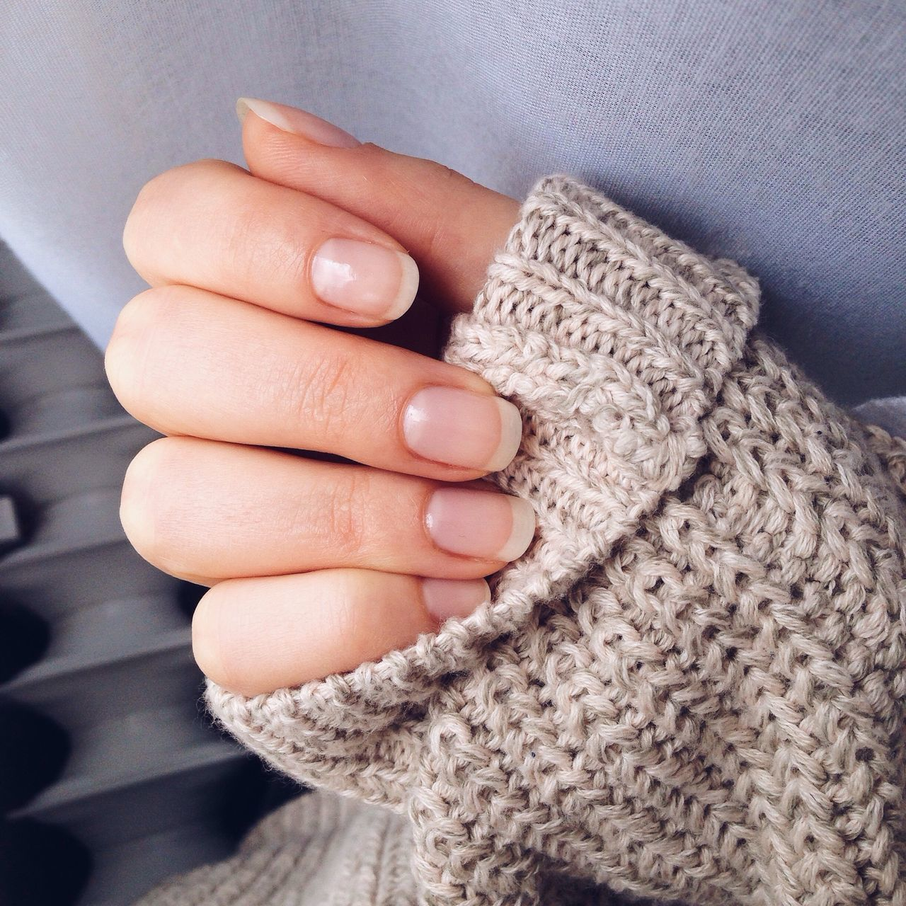 Hand Fingers Nails Long Nails Manicure! French Minimalism Sweaterweather Sweater Details Nudelife Nudenails Simplicity