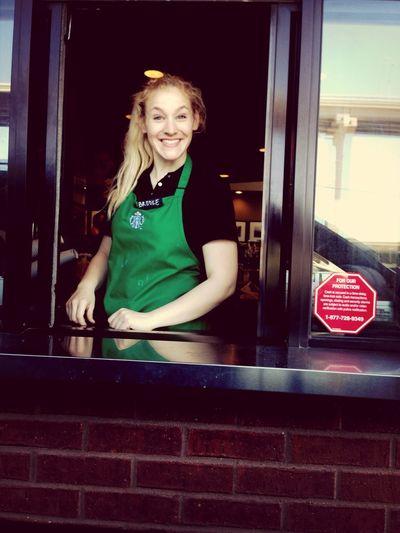 Favorite Human LOOK AT MY CUTIE OF A SISTER AT STARBUCKS!!! Starbucks Work Cutie