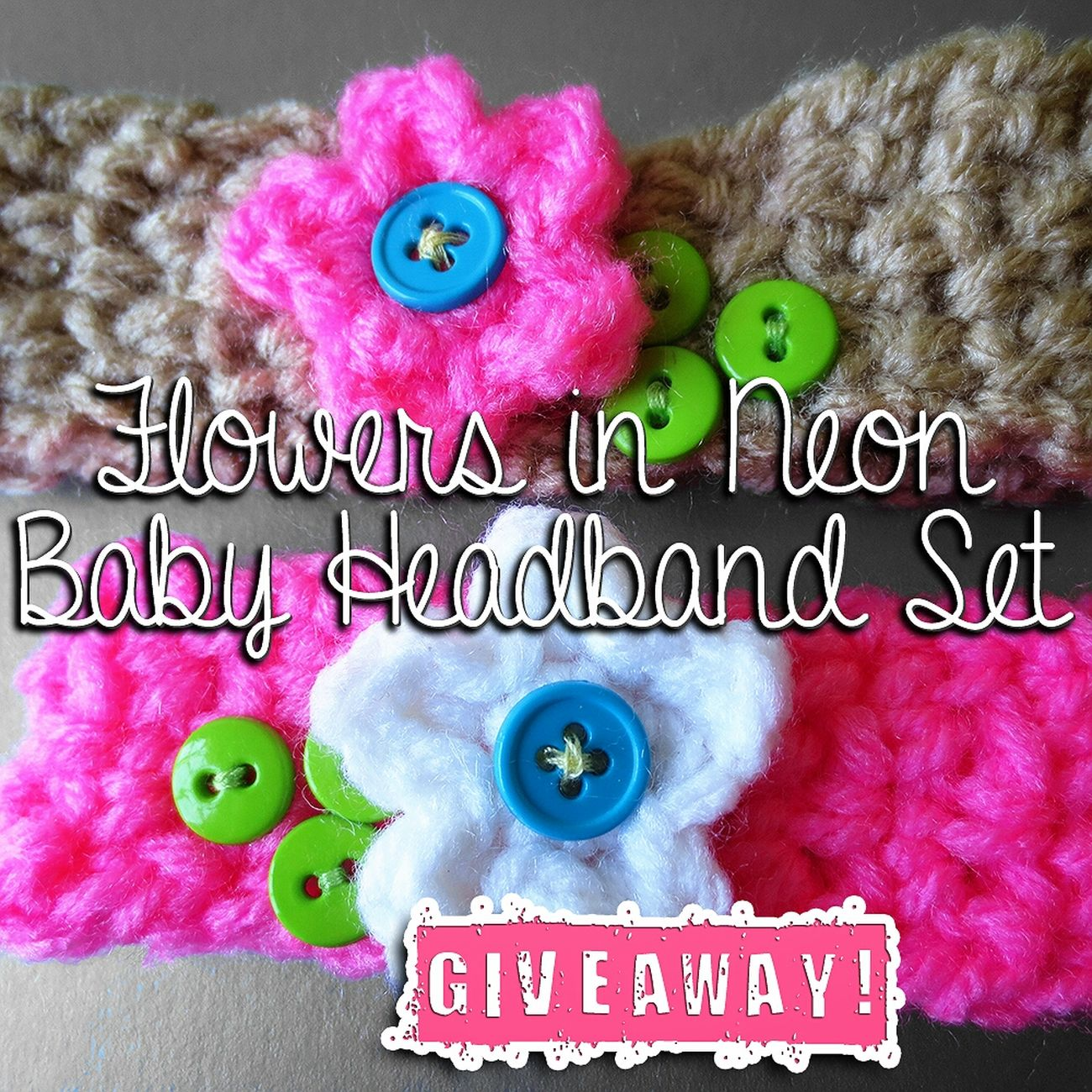 GIVEAWAY: Flowers in Neon Crochet Baby Headband. ♥ Enter at PurpleKiss.Co ♥ Crochet Giveaway BLOG GIVEAWAY! Flowers