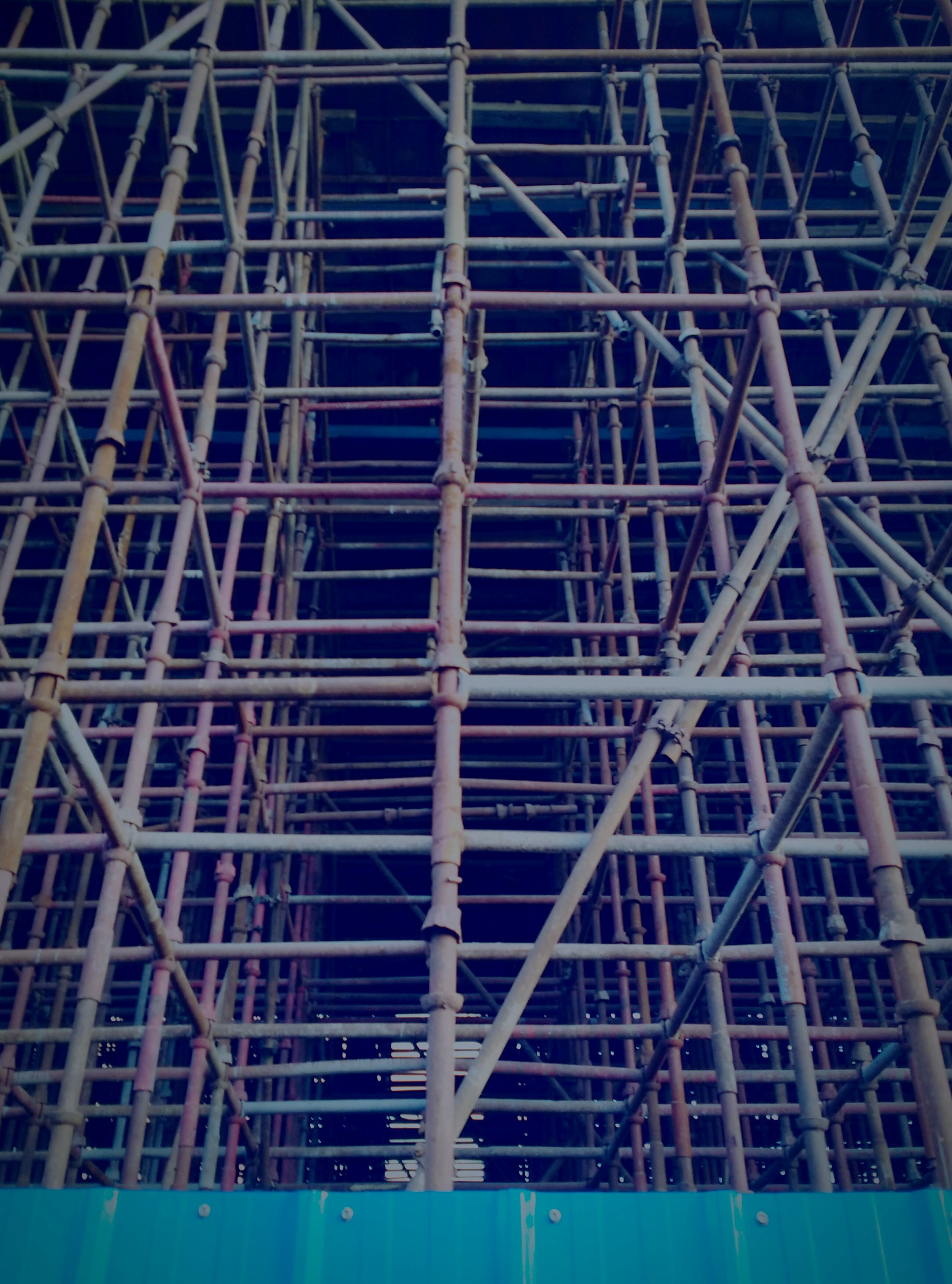 low angle view, built structure, architecture, metal, grid, pattern, metallic, blue, sky, no people, building exterior, full frame, connection, backgrounds, modern, outdoors, geometric shape, day, illuminated