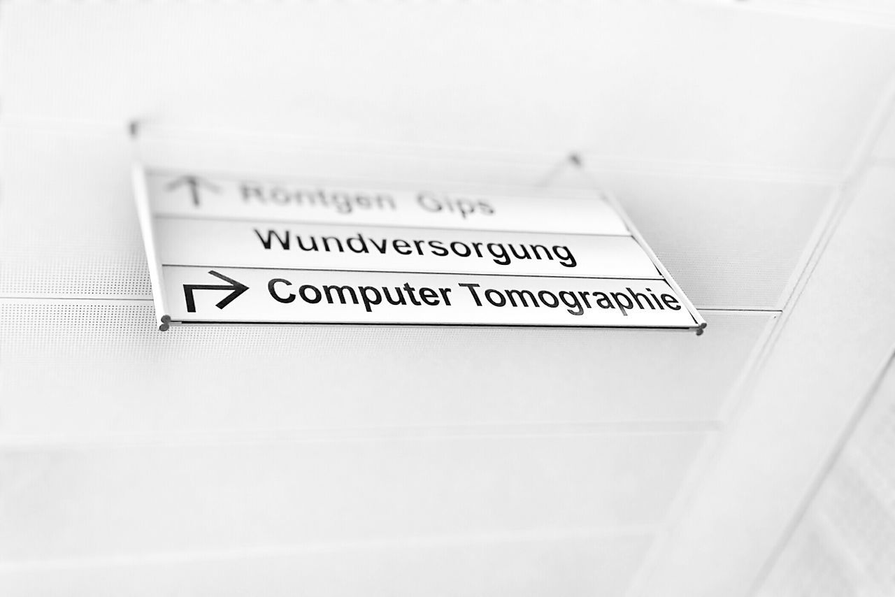 Hospital Sign X-Ray German Signs Healing Clinic White Black & White Salzburg UKH Plaster Healthcare And Medicine Ct Cat Scan Tomography Computed Tomography Scanning