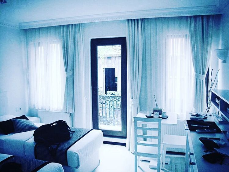 Curtain Bed Window Hotel Room Hotel Bedroom Blue Indoors  Hotel Suite No People Day