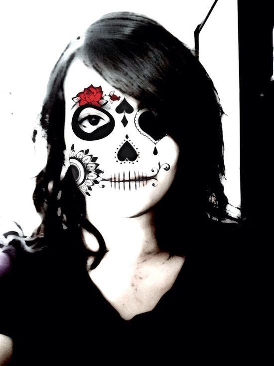 Hihi. Agora sou uma caveira mexicana Skull Skull Face That's Me Woma