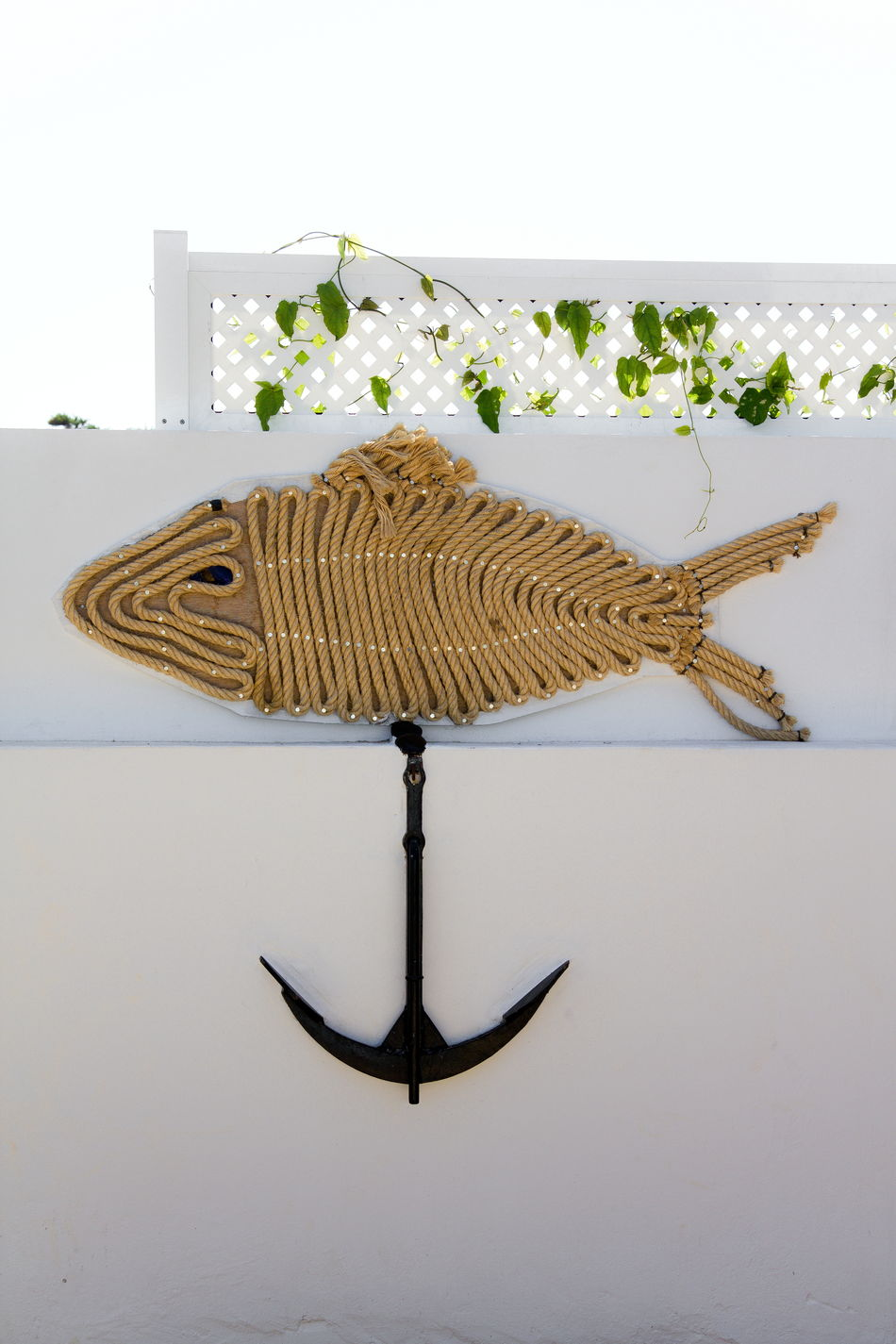 Cord Fish Anchor Art Art And Craft Close-up Cord Cord Fish Creativity Decoration Drawstring Fish Flower Sea Still Life Wall Wall Decoration White Background White Wall
