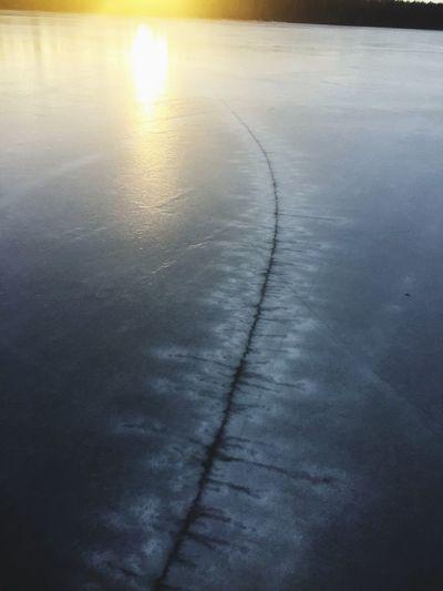 Sunset cracks ice urban