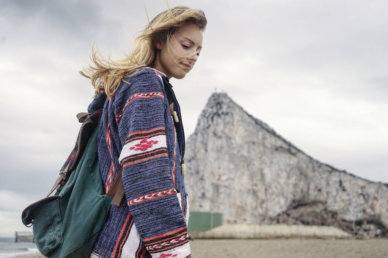 Cold day in Gibraltar's border. Mountain Women Nature Low Angle View People Only Women Sky Travel Exploring EEyeEmNewHere Blonde Girl EEyeEm Best Shots bBlond Hair sSweater nNomakeup TTravel Photography eEyem Gallery EyeEm Diversity