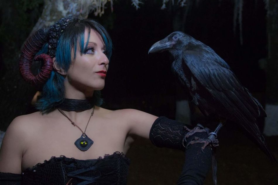 Beauty One Woman Only Witch Witchcraft  Crow Raven Raven - Bird Forest Night Blue Hair Medieval Festival Succubus Only Women Ethereal One Person Beautiful People Netting People Women One Young Woman Only Adult Young Adult Outdoors Adults Only
