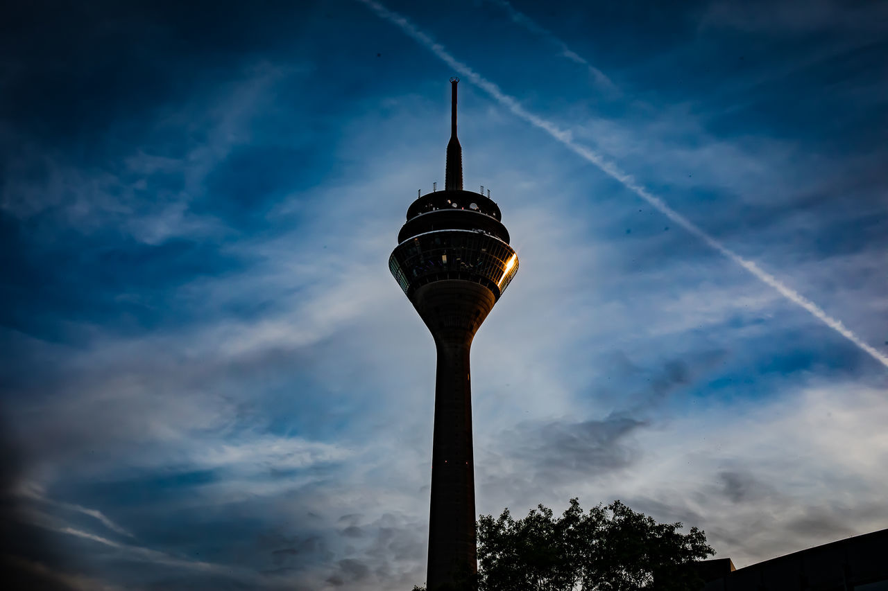 Architecture Cloud - Sky Duesseldorf Low Angle View No People Outdoors Rheinturm  Sky TV Tower