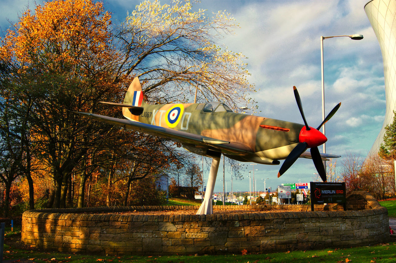This is very near to Edinburgh Airport and on a main access road to it #fighter Plane #old Fighter Plane #spitfire #war Equipment #war Plane Day Multi Colored No People Outdoors Sky Spitfire Monument Transportation Tree