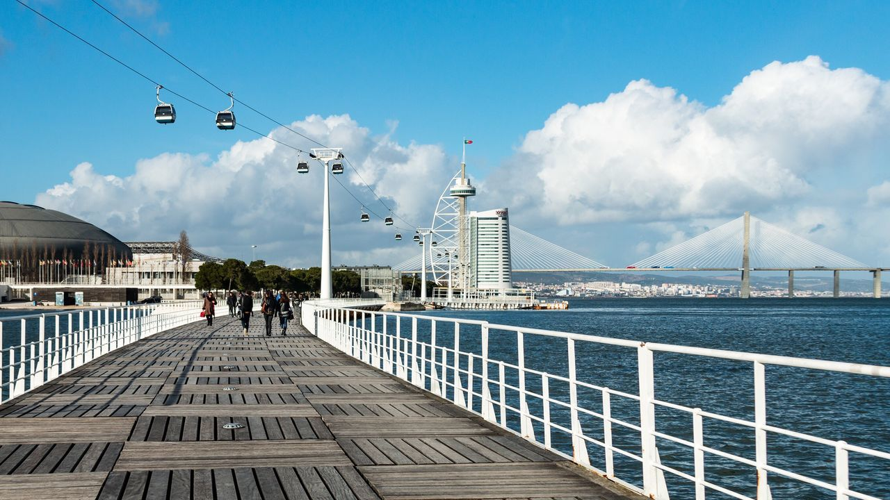 Lisboa, Portugal Sky Cloud - Sky Architecture Built Structure Railing Day Outdoors Real People Building Exterior Water Men City Bridge - Man Made Structure Large Group Of People Suspension Bridge Nature Lisbon Lisboa Portugal Europe