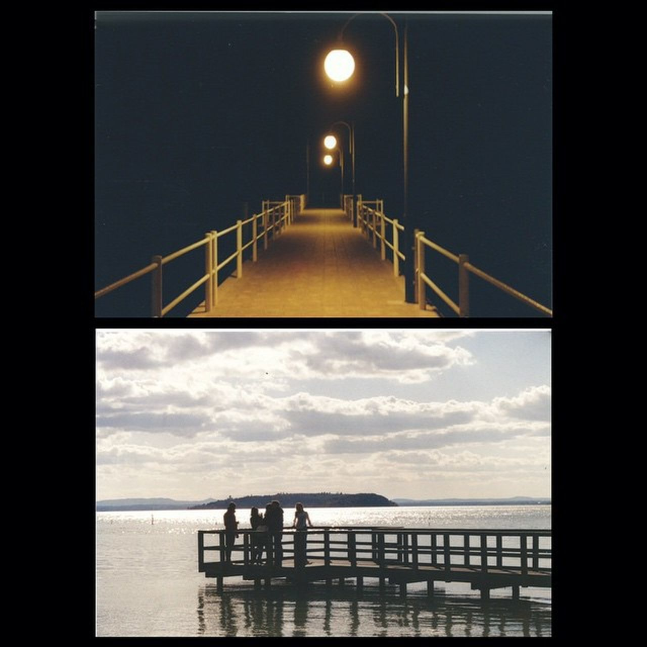 sea, railing, bridge - man made structure, built structure, sky, water, architecture, no people, horizon over water, outdoors, illuminated, night, nature