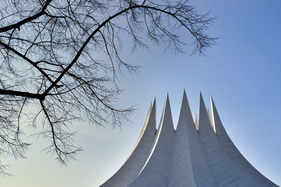 Architecture Bare Tree Berlin Mitte Berlin Photography Berliner Ansichten Blue Building Exterior Clear Sky Day Low Angle View No People Outdoors Sky Tempodrom Tempodrom Berlin Travel Destinations Tree