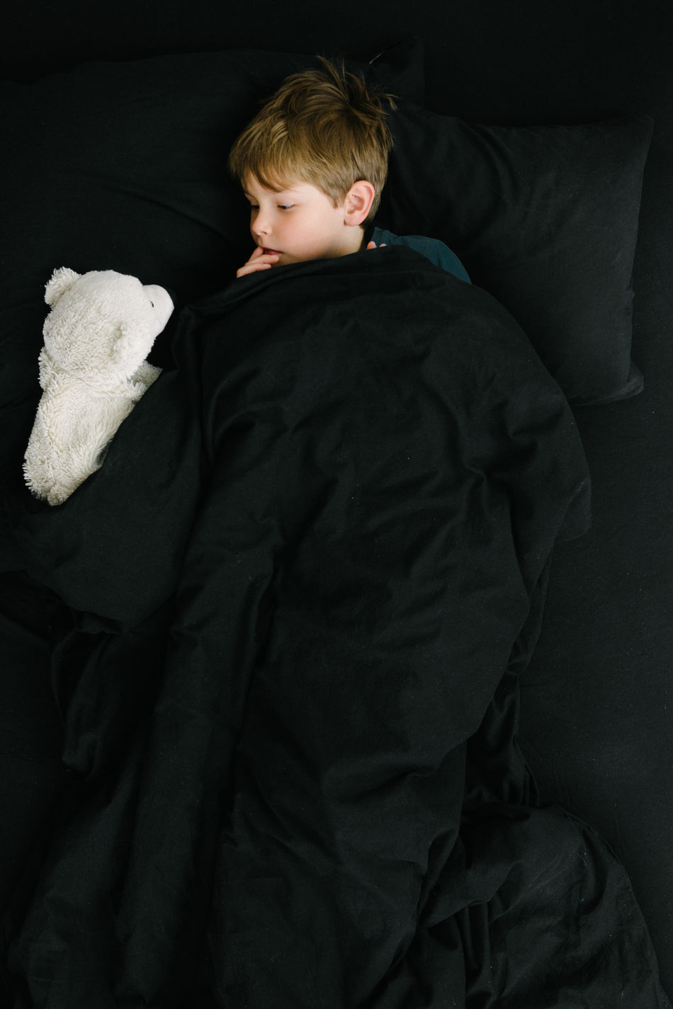 Boy talking to polar bear in black bed covers Bear Bed Bedroom Black Background Black Color Blond Boy Child Childhood Children Children Only Conversation Friends Imagination Indoors  Kids One Person People Pillow Polar Bear Stuffed Animal Welcome To Black White