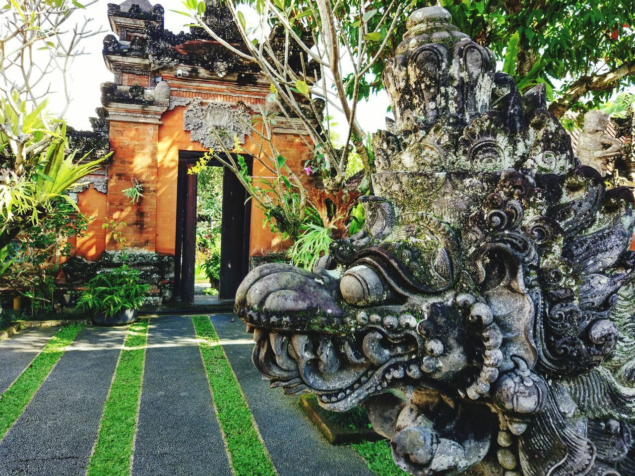 Built Structure Art And Craft Statue Sculpture Day No People Architecture Religion Outdoors Tree Building Exterior Religious Art INDONESIA Bali Tradition Purisaraswati Naga