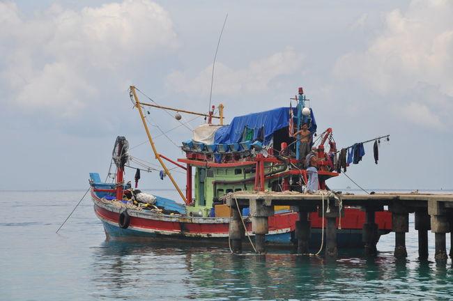 Fisher Fisherman Fishing Net Horizontal Nautical Vessel Outdoors Sea Sky Water