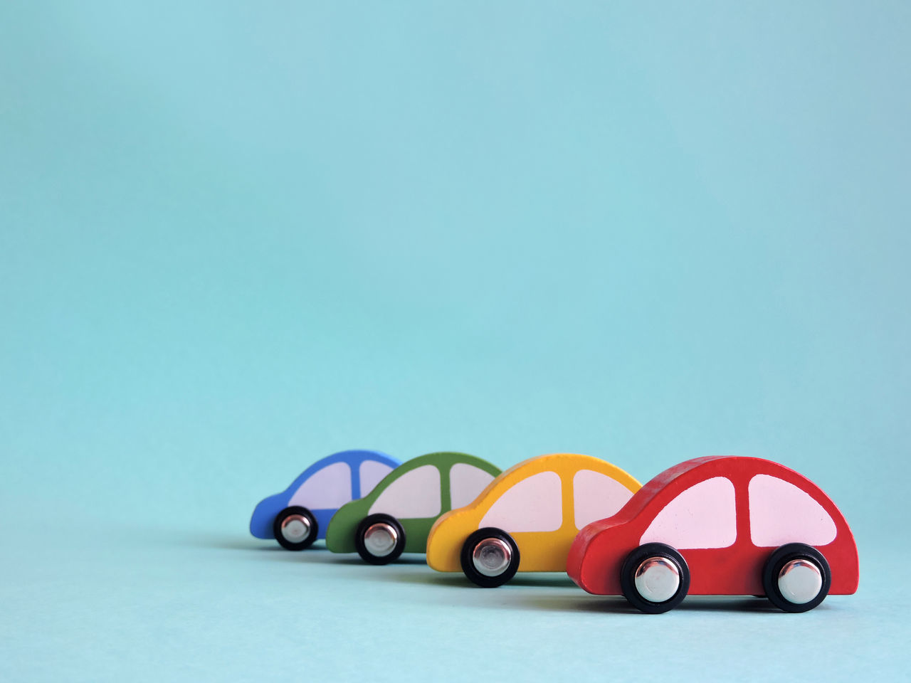 Blue Blue Background Car Classic Colourful Generic Green In A Row LINE Lined Up Minimal Painted Red Row Studio Toy Wooden Yellow