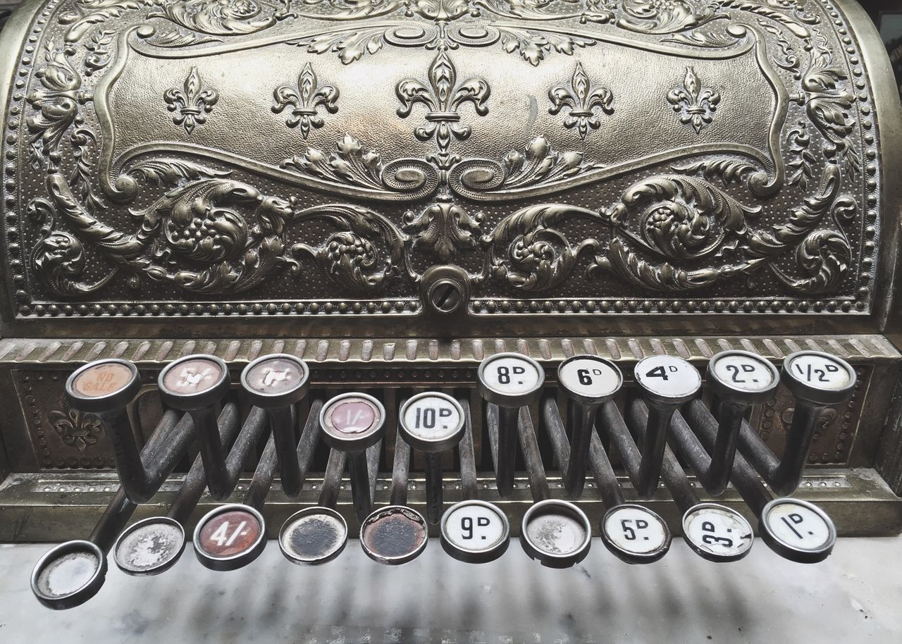 Old Cash Register Brass Keys Close-up Retail  Shop Numbers And Letters Numbers