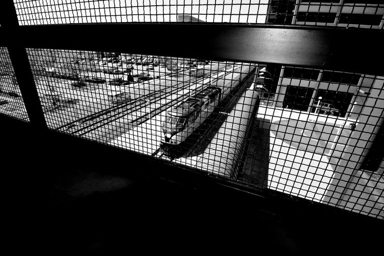 Catwalk @ Train Station 2 Jack London Square Oakland Amtrak Port Of Oakland, Ca. Owns Downtown Lines: Capital Corridor,Coast Starlight,San Joaquin Black & White Black And White Black And White Collection  Black And White Photography Geometric Patterns Pattern Pieces Overpass Overpass View