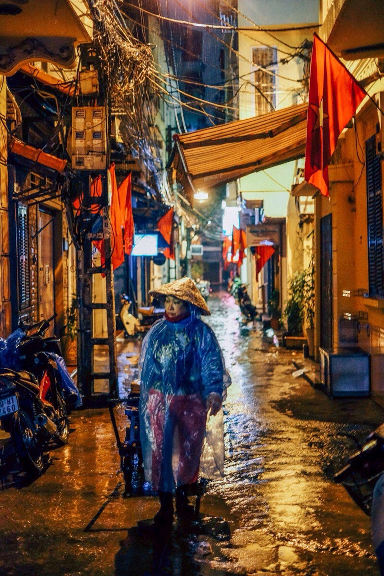 Rainy night in Hanoi's Old Quarter The Street Photographer - 2016 EyeEm Awards Shootermag City Life Traveling Travel Vietnam Rainy Reflection Street 43 Golden Moments Feel The Journey
