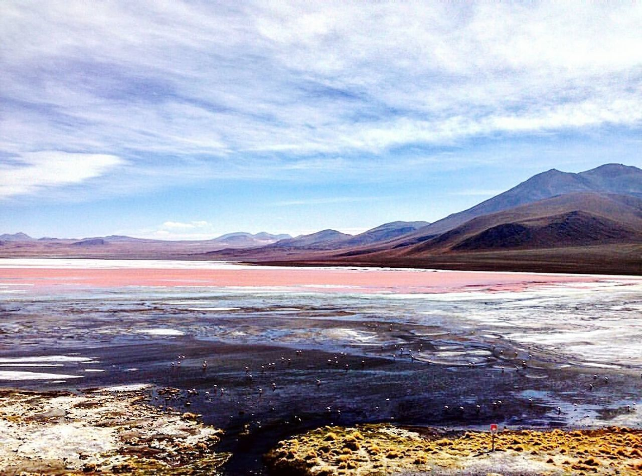 Landscape Lake Outdoors Scenics Mountain No People Cloud - Sky Sky Nature Day Wonderful_places Naturelovers Travel Travel Destinations Bolivia Tranquility Tranquil Scene Beauty In Nature Nature Laguna Lagunacolorada