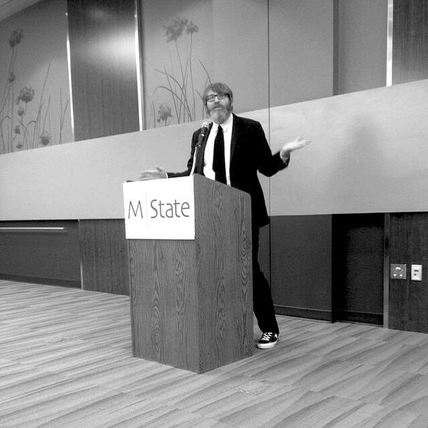 QVHoughPhoto Chuckklosterman Moorhead Minnesota Author Speech Blackandwhite IPhoneography IPhone4s