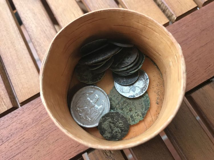 Your Ticket To Europe EyeEm Selects Table Wood - Material High Angle View Directly Above Indoors  Day No People Close-up The Week On EyeEm Antique Coins Coin Collection Old Coins History European Coin