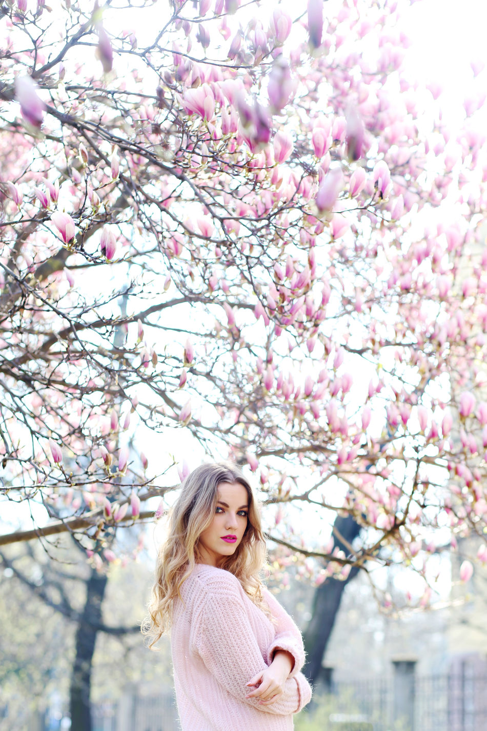 Beautiful Woman Beauty Beauty In Nature Blossom Flower Long Hair Magnolia Millennial Pink One Woman Only Pink Color Portrait Slovakiagirl Smiling Springtime Tree Women Young Adult Young Women