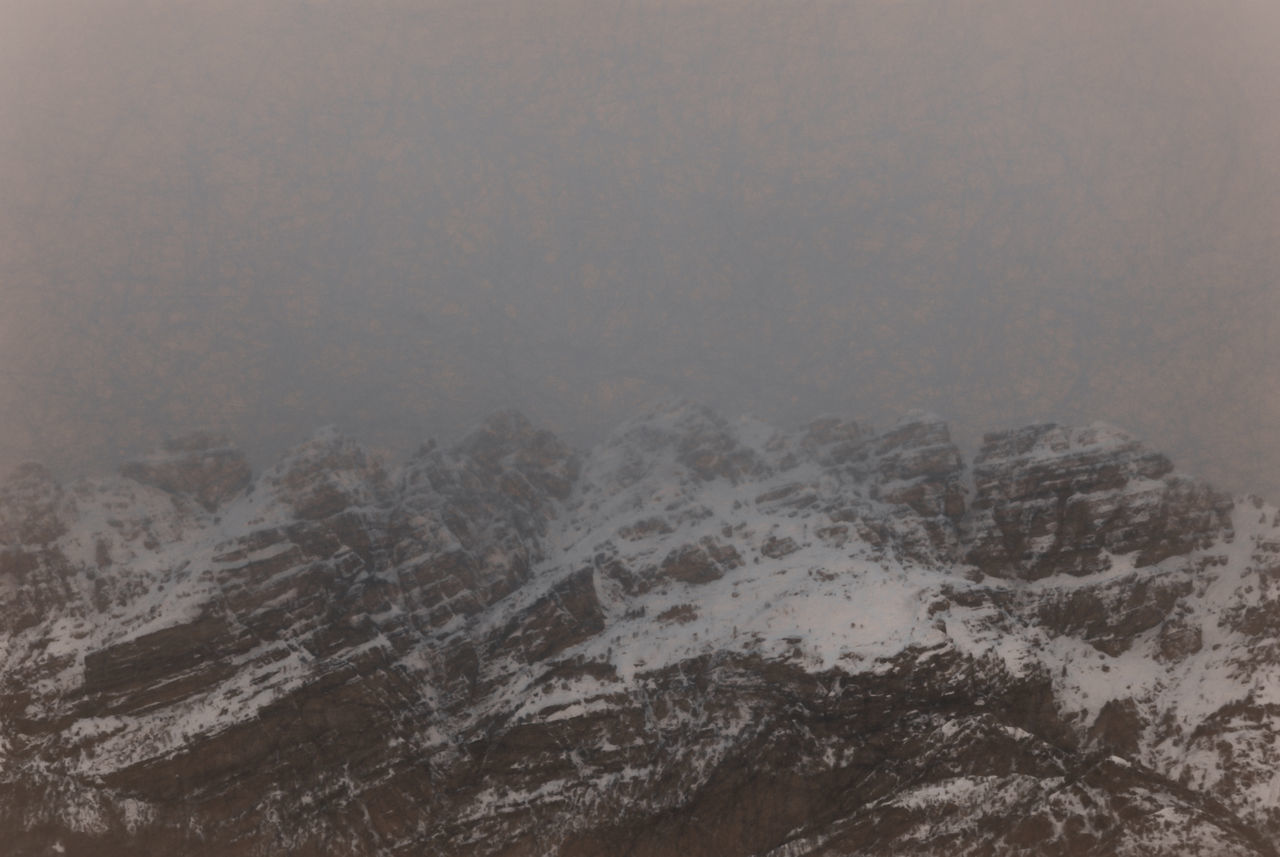 weather, nature, fog, winter, mountain, snow, cold temperature, scenics, no people, landscape, beauty in nature, tranquil scene, tranquility, outdoors, day, sky, close-up
