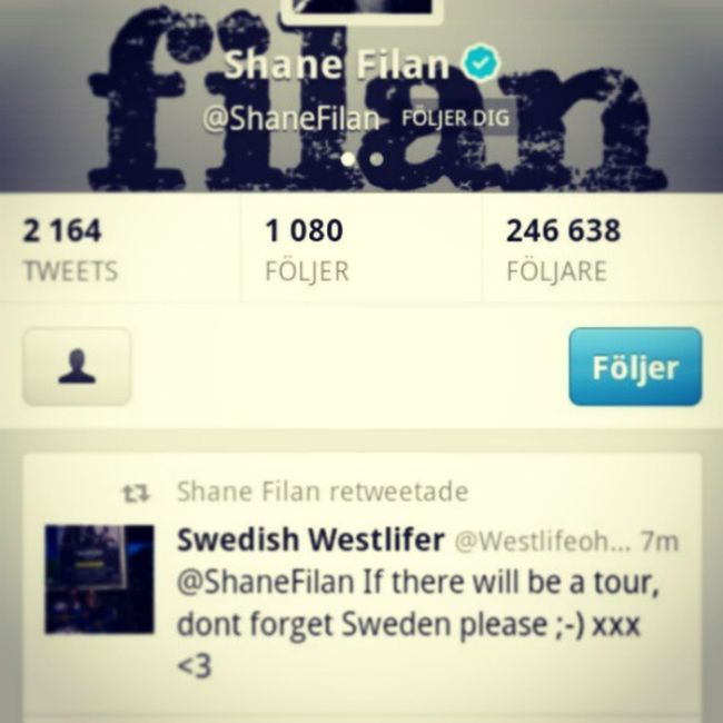 "OMG! Cant believe ShaneFilan rt""d my tweet!!! Happy Twitter Retweet"