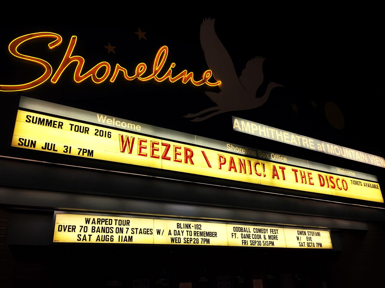 Concert night at the Shoreline Shoreline Panic! At The Disco WEEZER First Eyeem Photo