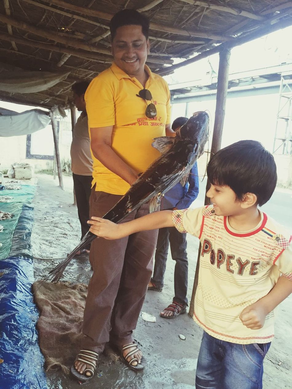 Giant Fish curious my son Harshit to touching it
