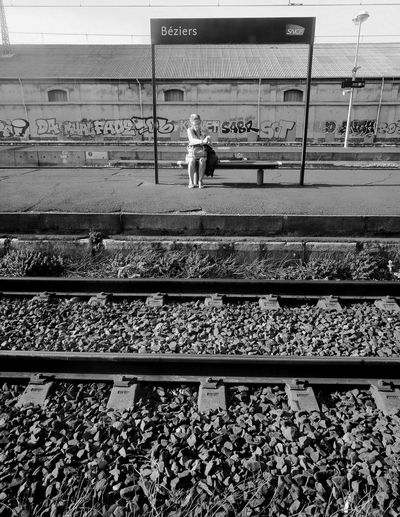 Rail Transportation Railroad Station Real People Transportation Public Transportation One Person Day People Outdoors Béziers Noiretblanc Blackandwhite Streetphotography HuaweiP9 Cityscape Gare Trainstations