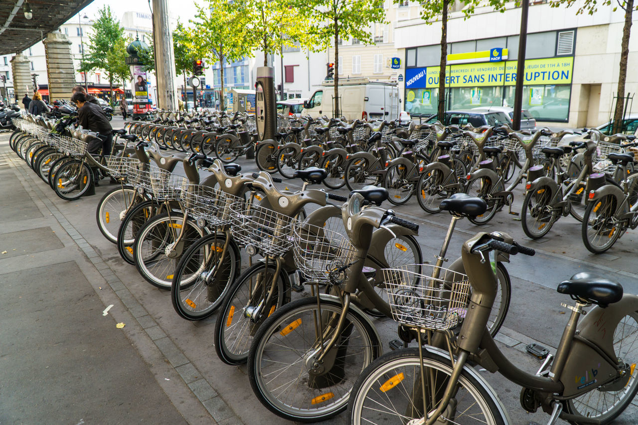 Rental bikes in Paris near the subway Bicycle Bicycle Rack Day In A Row Land Vehicle Mode Of Transport No People Outdoors Paris Parking Parking Lot Rental Bikes. Stationary Transportation