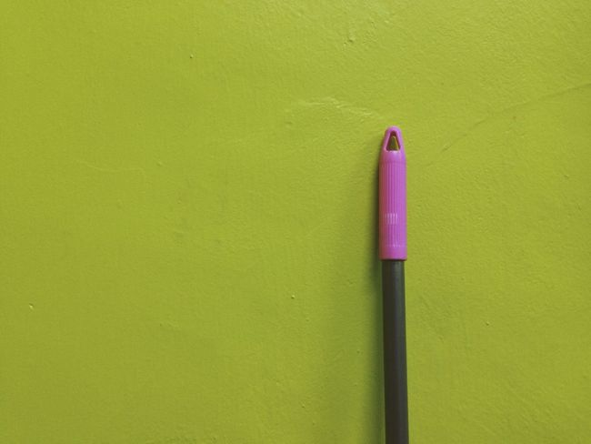 newly painted wall with a broomstick Art And Craft Blue Close-up Copy Space Creativity Ideas Indoors  IPhoneography Minimalism Minimalobsession Multi Colored Paint Pencil Red Simplicity Simplicity.  Single Object Still Life Studio Shot Textured  Vibrant Color VSCO Wall Wall - Building Feature Yellow