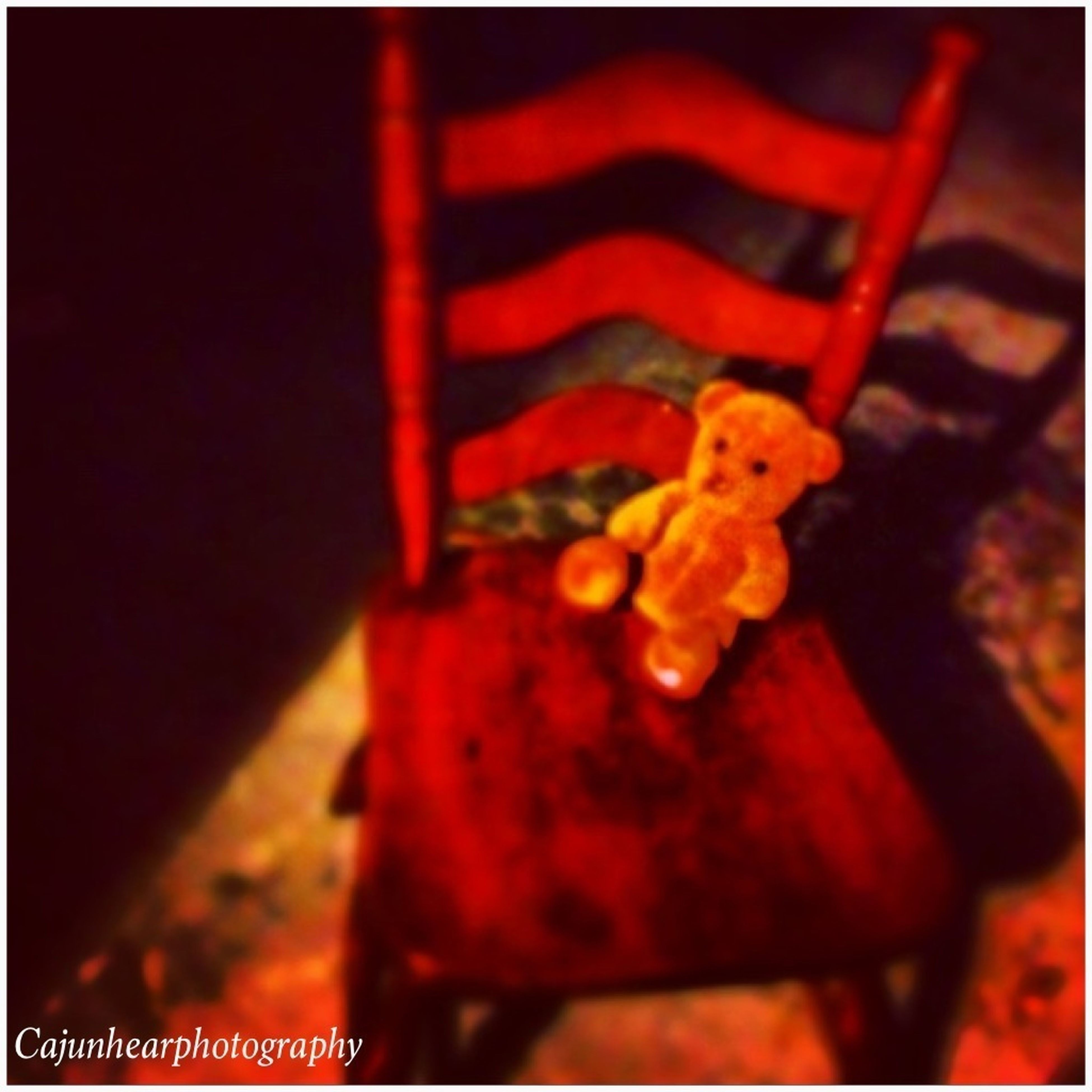 transfer print, auto post production filter, red, close-up, focus on foreground, human representation, indoors, selective focus, no people, night, animal representation, orange color, vignette, toy, part of, holding, art and craft, art