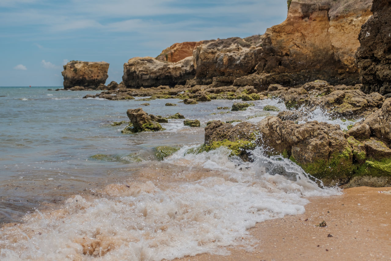 Algarve, Portugal Beauty In Nature Day Horizon Over Water Nature No People Outdoors Rock - Object Rock Formation Sea Sky Tranquility Water