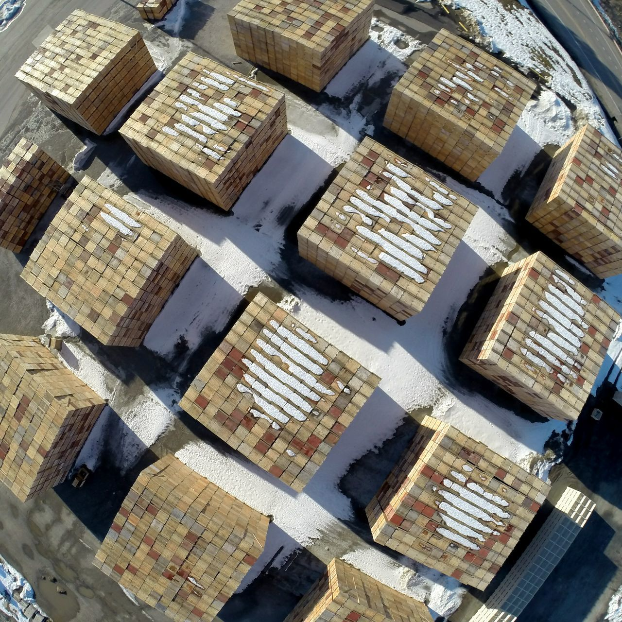 Full Frame Pattern No People Backgrounds Outdoors Day Looking Down Boxes Stacked Aerial View Drone  Aerial Shot Flying High Factory Industry Commerce Business Supply And Demand  Apple Apples Orchard Orchards Apple - Fruit Pattern Pieces