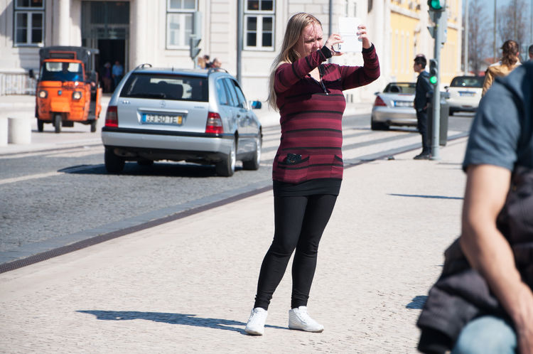 Metaphotography. Adult Adults Only City Day Full Length Lifestyles Lisboa Lisbon One Person Outdoors People Portugal Praça Do Comércio Real People Road Street Sunlight Women Young Adult