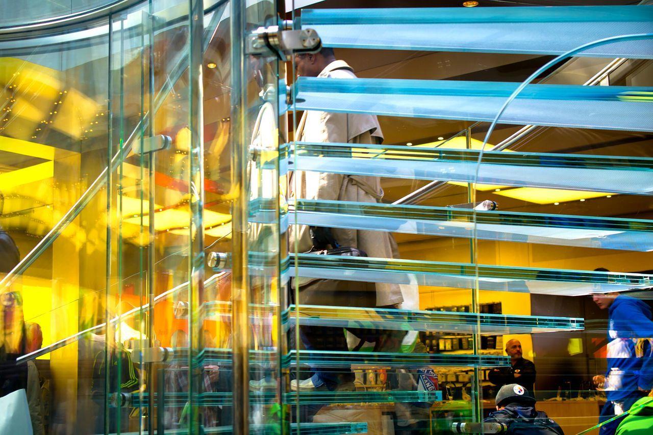 Reflection Stears Applestore New York USA Urbun Geometry Arhitecture Colors The Best Of New York Stairways