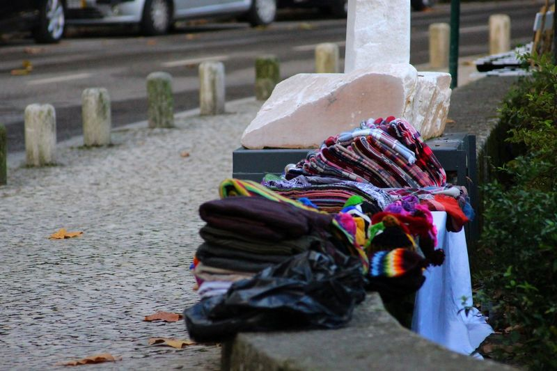 Blanket Blankets Close-up Clothes Day Detail Displayed Focus On Foreground For Sale From My Point Of View Large Group Of Objects Lieblingsteil Market Multi Colored My Point Of View No People Outdoors Perspective Plants Retail  Road Street Streetphotography Textile Wool